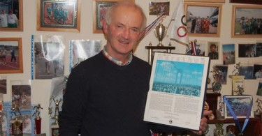Jerry Murphy with his certificate from the 1980 New York Marathon