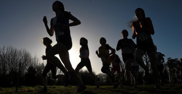 7 December 2014; Athletes make their way through the course during the Girl's U13 race at the GloHealth Novice and Juvenile Uneven Age Cross Country Championships. Santry Demesne, Santry, Dublin. Picture credit: Pat Murphy / SPORTSFILE