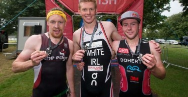 REPRO FREE***PRESS RELEASE NO REPRODUCTION FEE*** Vodafone Dublin City Triathlon, Phoenix Park, Dublin 23/8/2015 Third place Chris Mintern, Cork TC, Co. Cork, with first Russell White, Banbridge, Co. Down, and third Constantine Doherty, Westport TC, Co. Mayo Mandatory Credit ©INPHO/Ryan Byrne