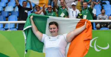 15 September 2016; Orla Barry of Ireland celebrates in front of Ireland supporters after taking silver in the Women's Discus F57 Final at the Olympic Stadium during the Rio 2016 Paralympic Games in Rio de Janeiro, Brazil. Photo by Diarmuid Greene/Sportsfile *** NO REPRODUCTION FEE ***