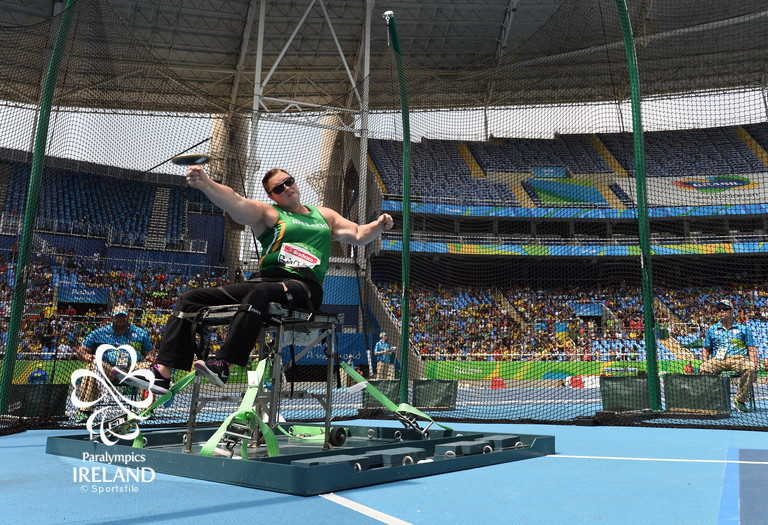 15 September 2016; Orla Barry of Ireland in action during the Women's Discus F57 Final at the Olympic Stadium during the Rio 2016 Paralympic Games in Rio de Janeiro, Brazil. Photo by Diarmuid Greene/Sportsfile *** NO REPRODUCTION FEE ***
